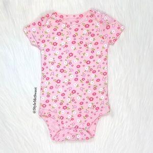 Carter's pink floral print short sleeve bodysuit